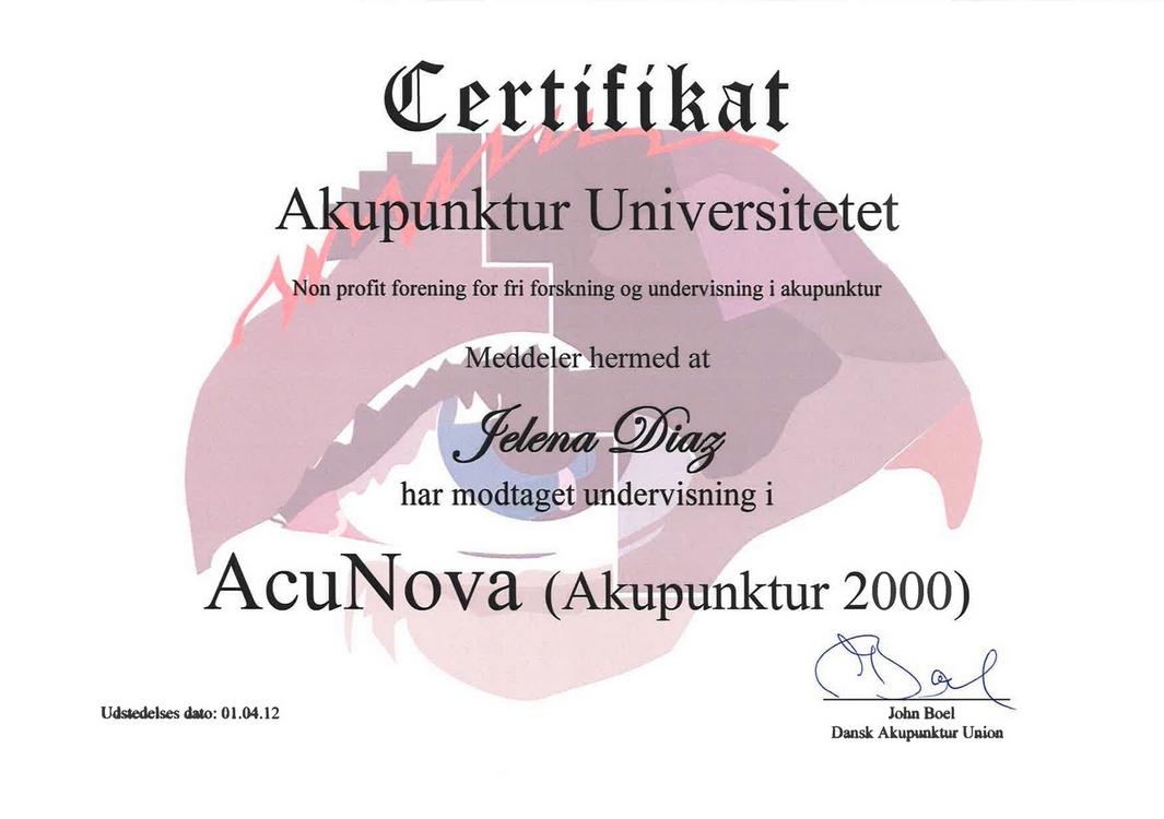 Диплом Елены Диаз AcuNova