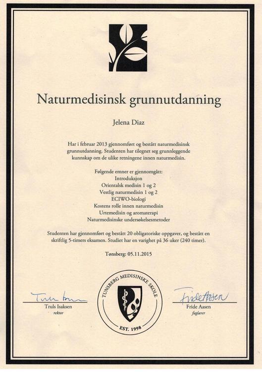 Диплом Елены Диаз - терапевта натуральной медицины